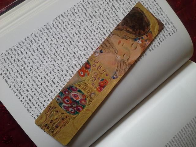marque-page cuir reproduction du baiser de Klim